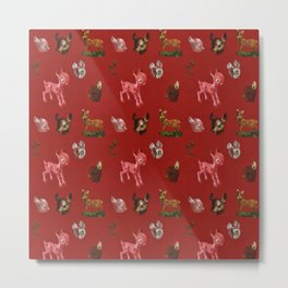 Vintage Christmas Forest Woodland Pink Deer Metal Print
