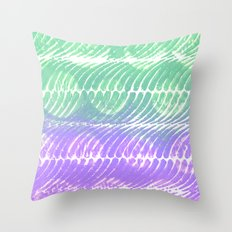 Mint and lilac waves Throw Pillow