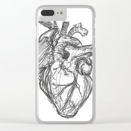 Anatomical Heart Ink Sketch Clear iPhone Case