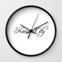 kansas city Wall Clocks featuring Kansas City by Blocks & Boroughs