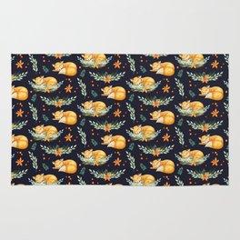 Animal Pattern Sleeping Fox Watercolor Navy Orange Rug