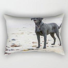 Black Labrador dog on the beach Rectangular Pillow