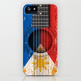 Old Vintage Acoustic Guitar with Filipino Flag iPhone Case