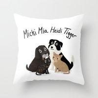 "tigger Throw Pillows featuring Custom Artwork, ""Micki Mia Heidi Tigger"" by Cassandra Berger"