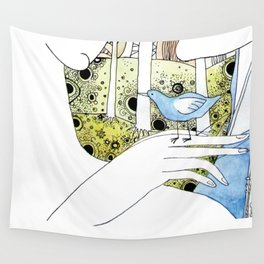 Spring-love-bird-arms-sheandhim Wall Tapestry