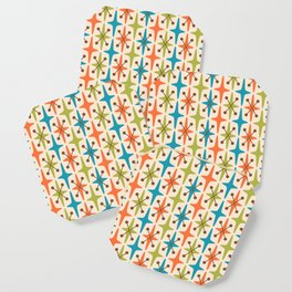 Mid Century Modern Abstract Star Pattern 441 Orange Brown Turquoise Chartreuse Coaster