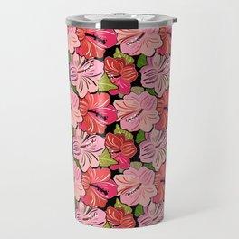 Pink Hibiscus Floral Pattern Travel Mug