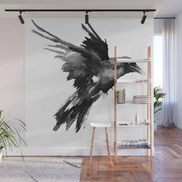 Flying Raven. tribal raven lover black and white raven decor Wall Mural