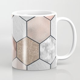 Marble hexagons and rose gold on black Coffee Mug