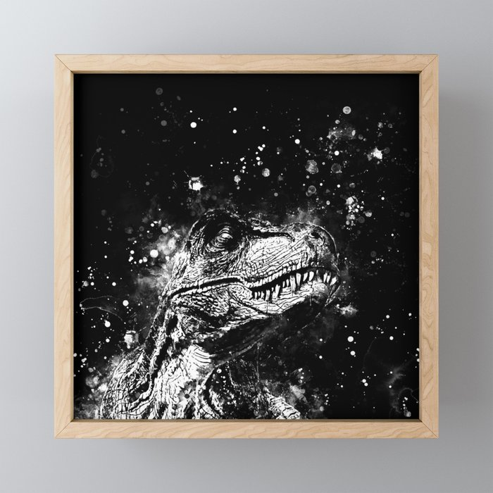 tyrannosaurus rex wsbw Framed Mini Art Print