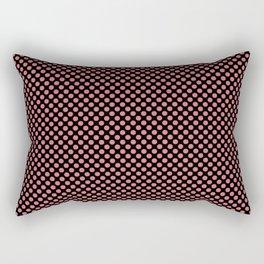 Black and Tea Rose Polka Dots Rectangular Pillow
