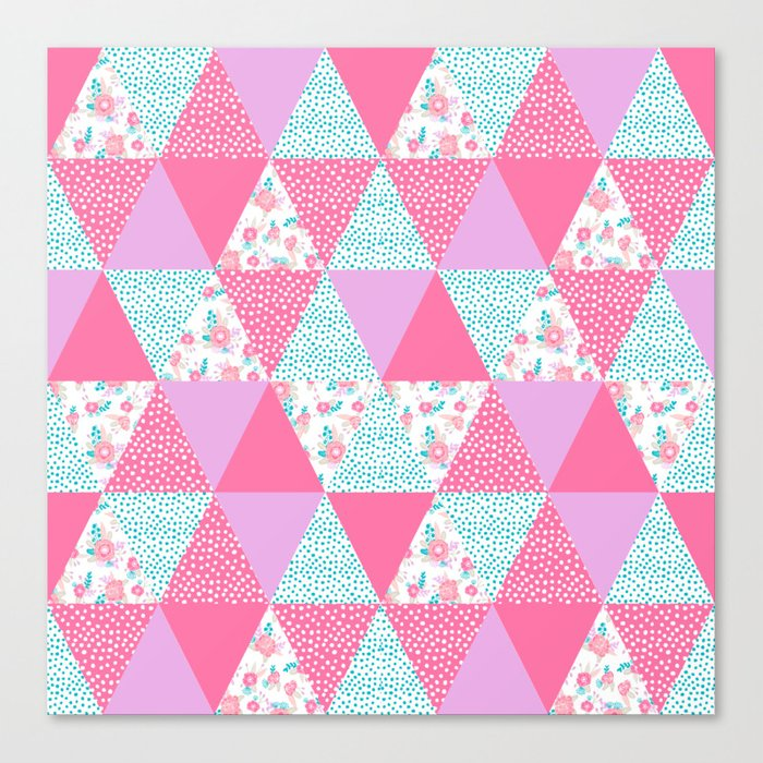 Bright quilt triangle cheater quilt pattern florals modern color palette gifts for nursery Canvas Print