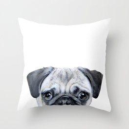 pug Dog illustration original painting print Throw Pillow