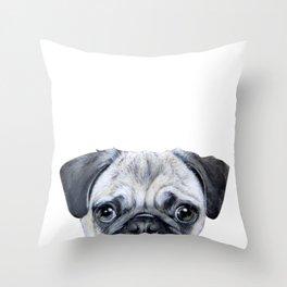 pug Dog illustration original painting print Throw Pillow