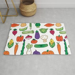 Cute Smiling Happy Veggies on white background Rug