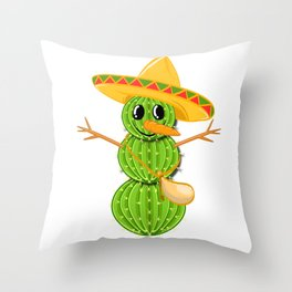 A Cute Greeny Cactus Plant Tee For You With Illustration Of A Cactus Scarecrow T-shirt Design Hat Throw Pillow