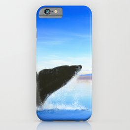 Whale tail on ocean with an island iPhone Case