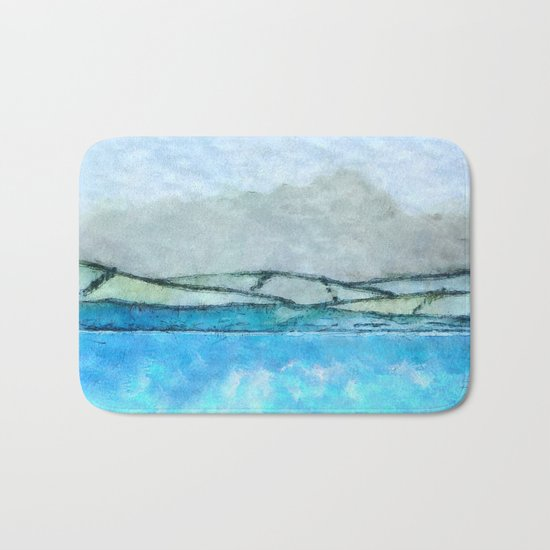 Landscape with fog and blue Bath Mat