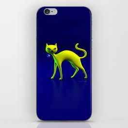 The Yellow Cat And Glass Blue Cherry iPhone Skin