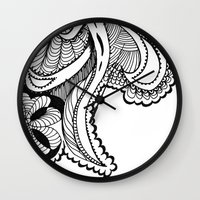 zentangle Wall Clocks featuring zentangle by Pinkspoisons