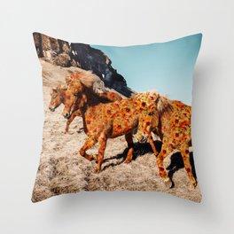 Wild Horses On Flowers Throw Pillow