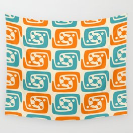 Mid Century Modern Galaxy Pattern 131 Orange and Turquoise Wall Tapestry
