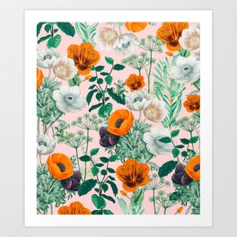 Wildflowers #pattern #illustration Art Print