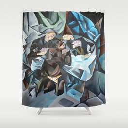 Three Men Playing Cards  Shower Curtain