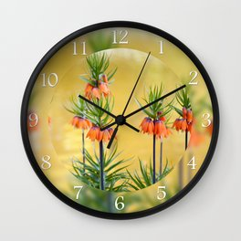 Orange lilly flowers Fritillaria imperialis Wall Clock