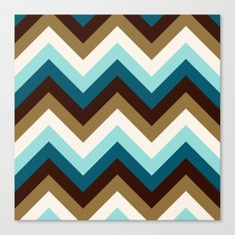 Funky Zigzag Pattern Teals Brown Gold Cream Canvas Print