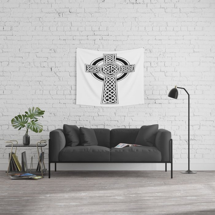 St Patrick's Day Celtic Cross Black and White Wall Tapestry