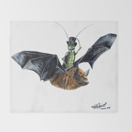 """ Rider in the Night "" happy cricket rides his pet bat Throw Blanket"