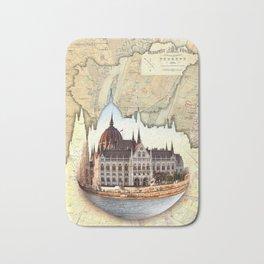 Budapest Globe Map Bath Mat