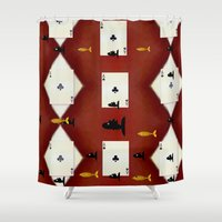 poker Shower Curtains featuring Poker Sharks by Pepita Selles