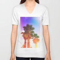 palms V-neck T-shirts featuring Palms by Neon Wildlife