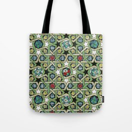 8-fold Rosettes with Flowers Tote Bag