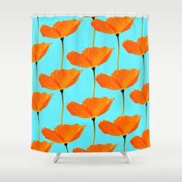 Poppies On A Turquoise Background #decor #society6 #buyart Shower Curtain