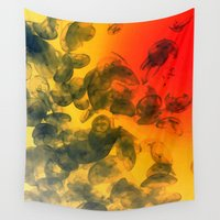 jelly fish Wall Tapestries featuring Jelly Sunrise by Arwen Art and Design