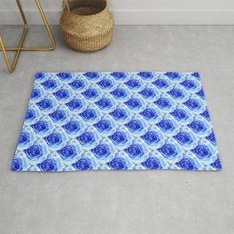 Tea Rose - Blue - Floral Pattern - Petal Elegance Art Deco Rug