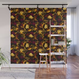 melancholy flowers small seamless pattern 01 edgy ember Wall Mural