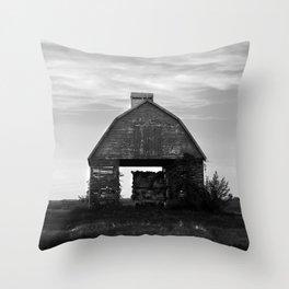 Country Corn Crib Black and White Farm Photography Throw Pillow