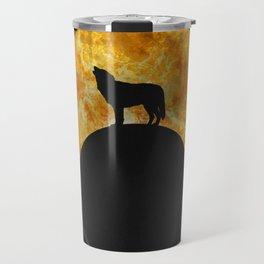 Wolf Howling On The Moon Travel Mug