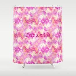 C'est La Vie - That's Life French Typography, Feminine Pretty Pink Pattern Ikat Chevron Pastel Art Shower Curtain