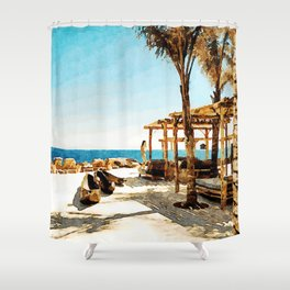 Watercolor Painting of Mykonos Beach Shower Curtain