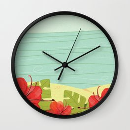 Hibiscus Beach - Red Tropical Flowers  Wall Clock