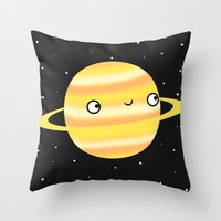 saturn Throw Pillows featuring Saturn by Sarah Crosby