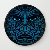 maori Wall Clocks featuring maori style 03 by Alexis Bacci Leveille
