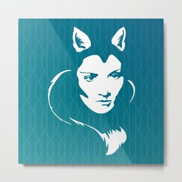Faces - foxy lady Marlene on a teal wavey background Metal Print