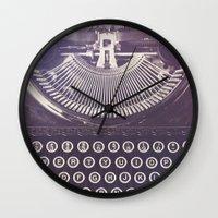 typewriter Wall Clocks featuring Typewriter by Jessica Torres Photography