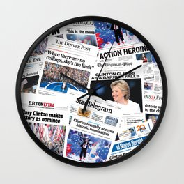 Hillary 2016 Historic Front Pages Wall Clock